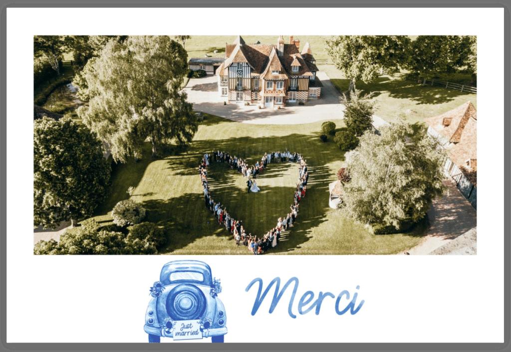 Carte postale de remerciement de mariage champêtre par Fizzer