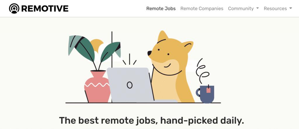 Captude d'écran de remotive.io, site pour trouver un job en remote