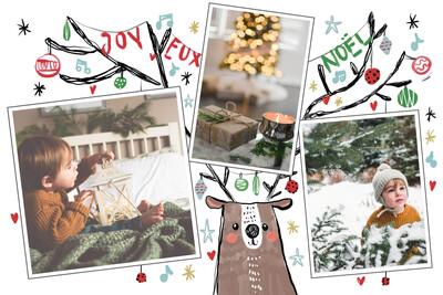 Renne de Noël avec guirlande lumineuse
