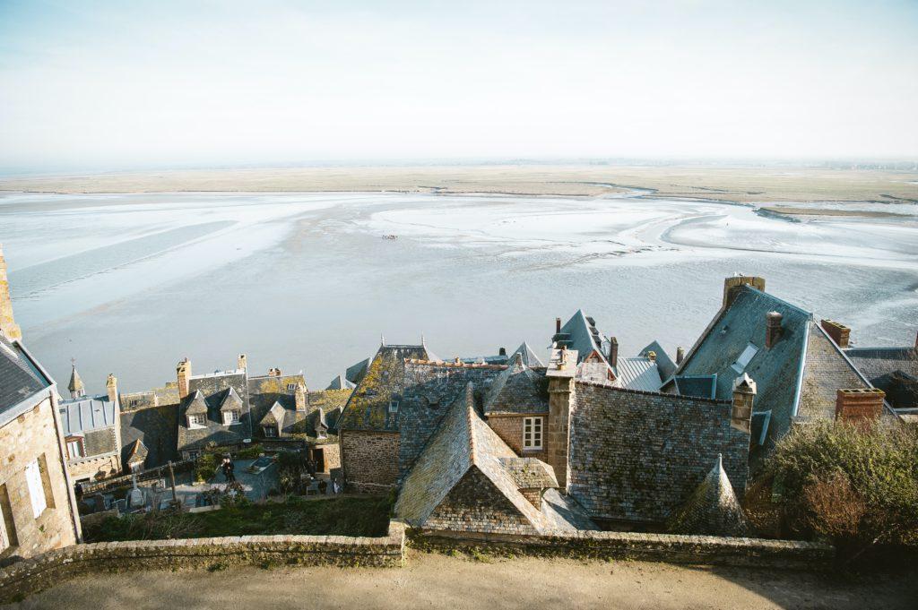Vue sur sables mouvants du Mont Saint Michel