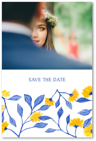 save the date mariage fleurs bleues