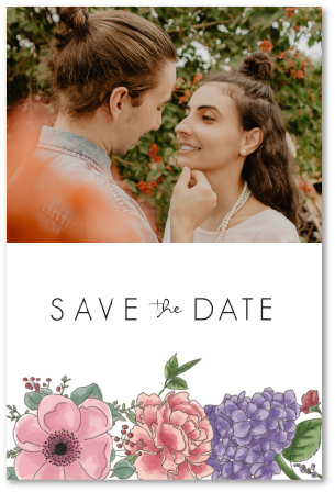 save the date mariage fleurs roses