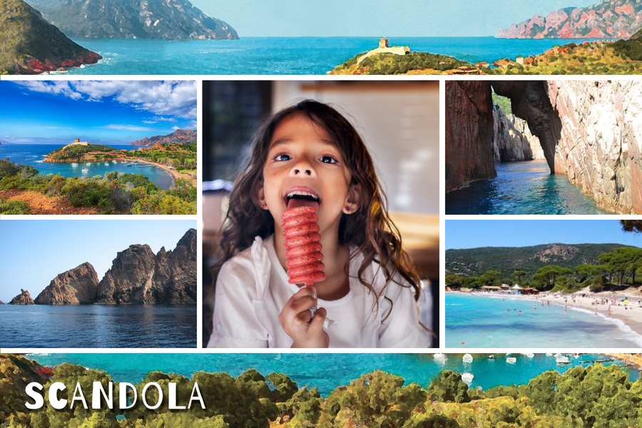 Carte cinq photos de Scandola en Corse
