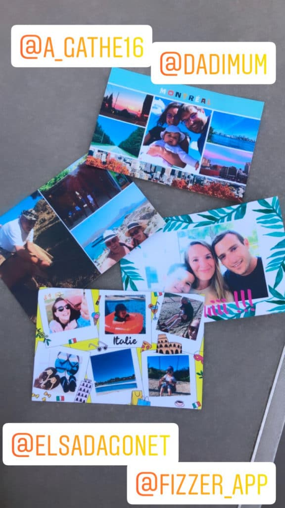 Quatre cartes postales envoyées par Marlène avec Fizzer