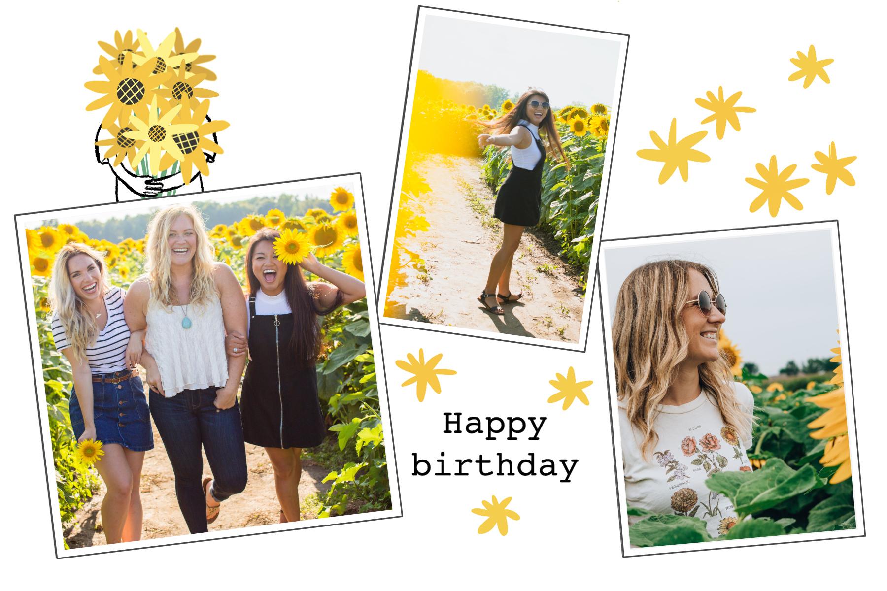 Carte anniversaire femme happy birthday tournesols