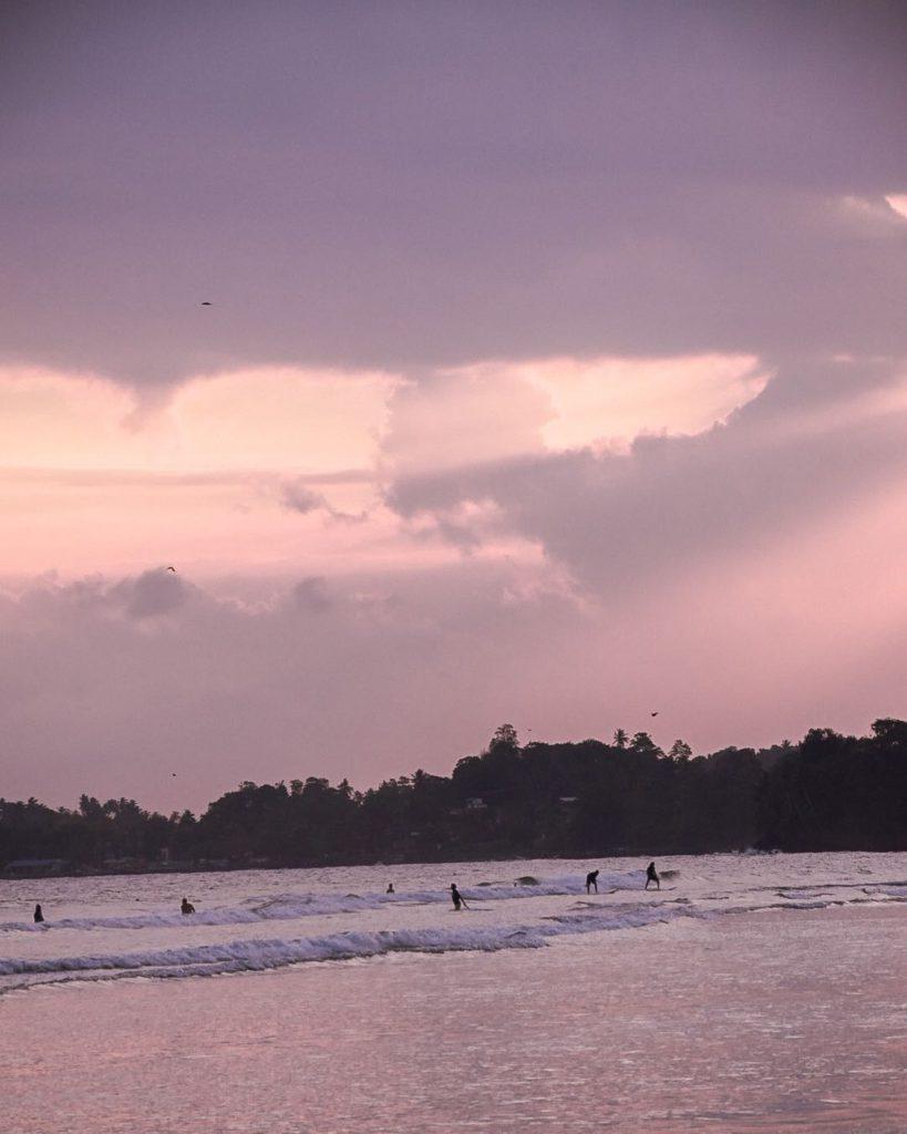 Plage et surfeurs dans la baie de Weligama Sri Lanka