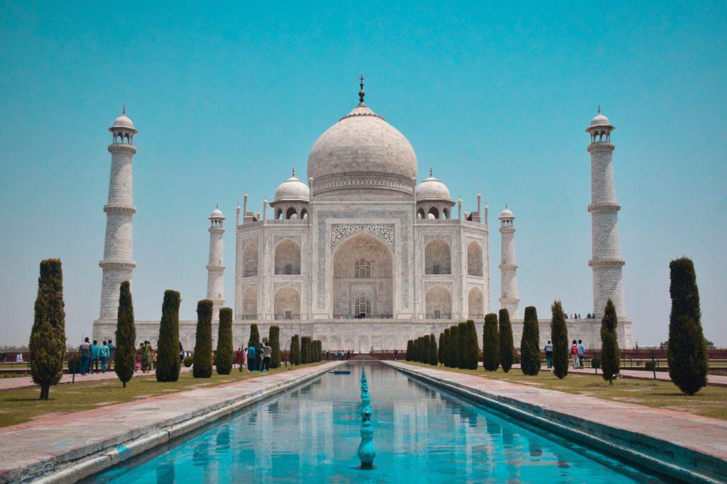 Taj Mahal facade et plan deau