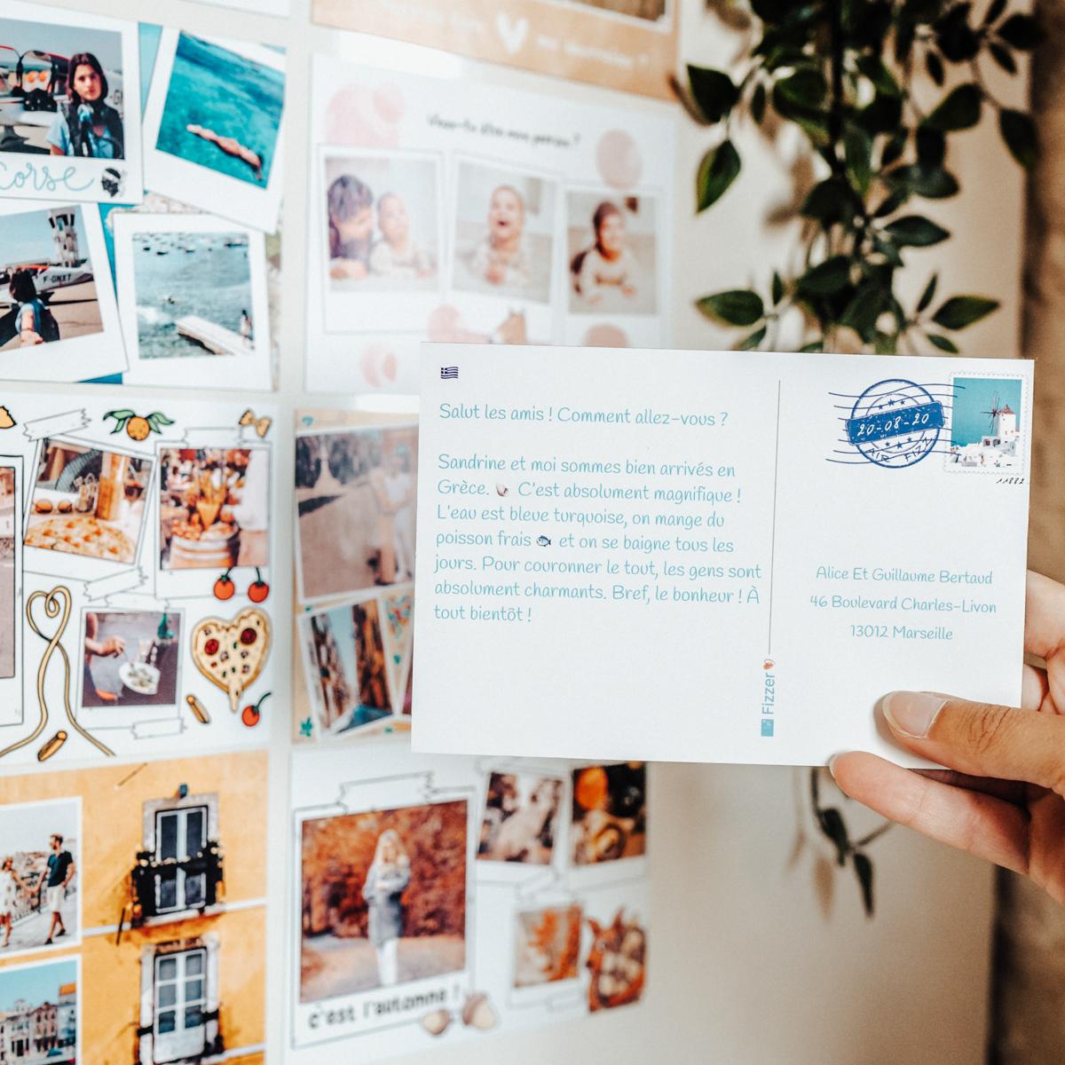 carte magnet avec texte de vacances