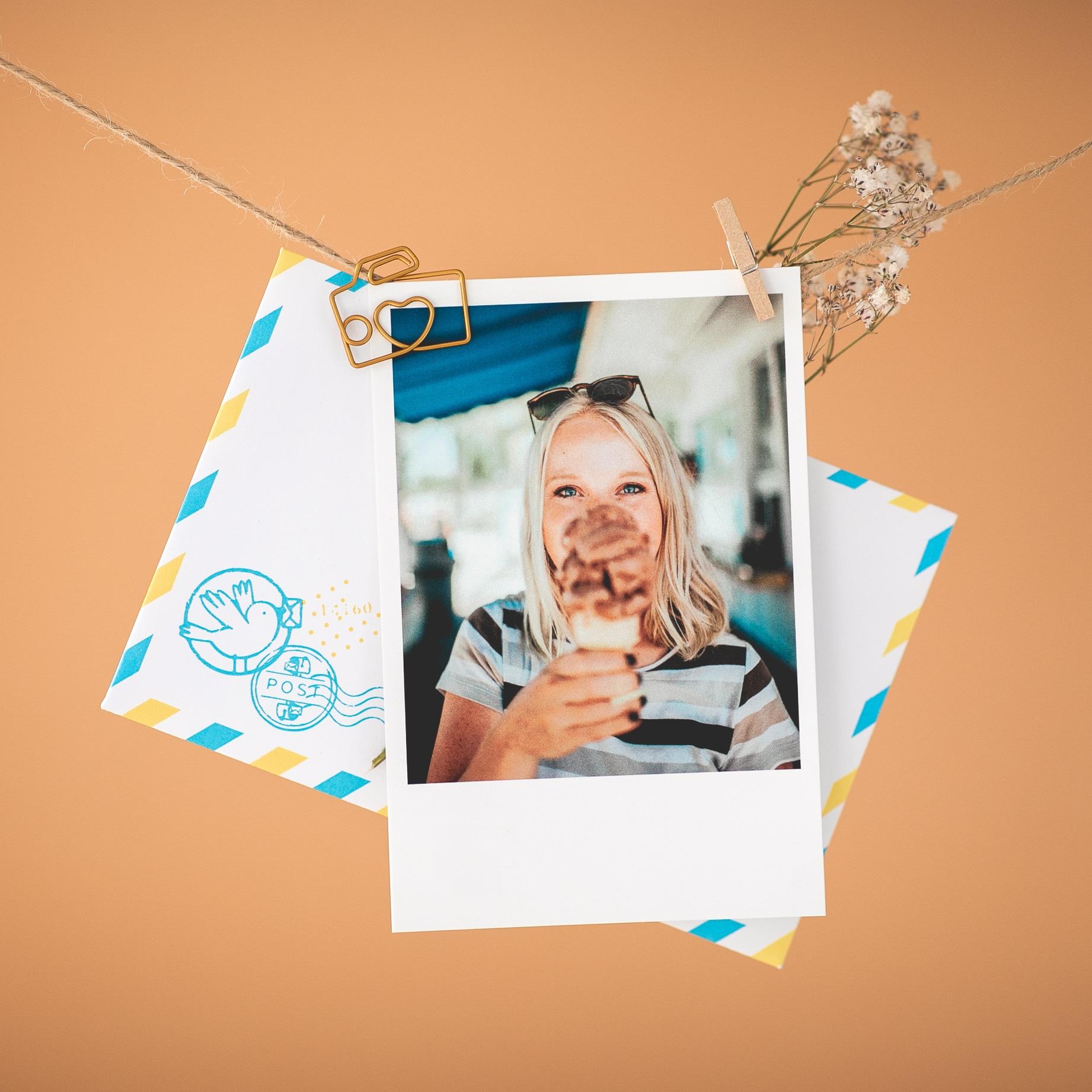 Carte anniversaire polaroïd femme