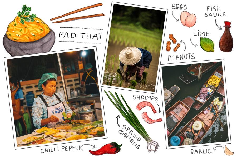 carte postale pad thai thailande