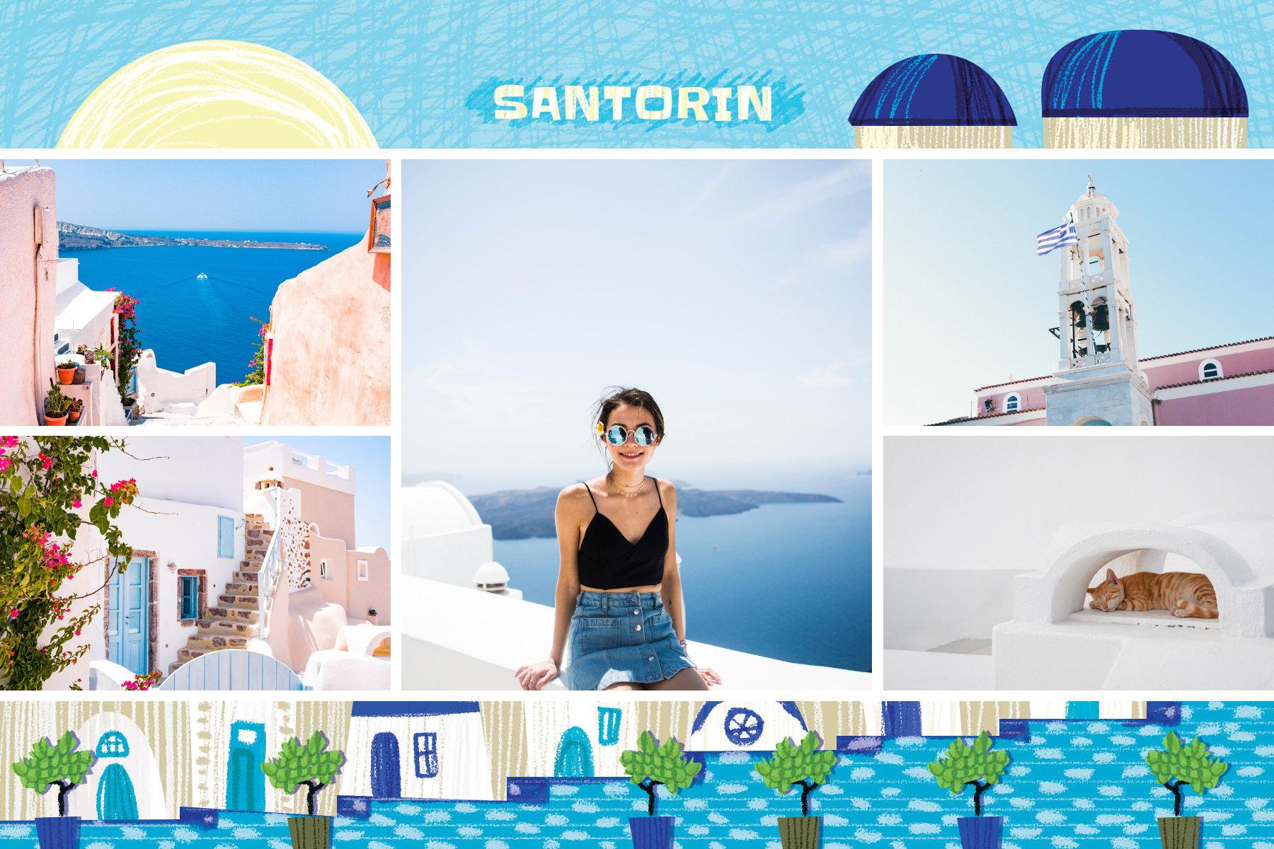 carte postale vacances a santorin grece