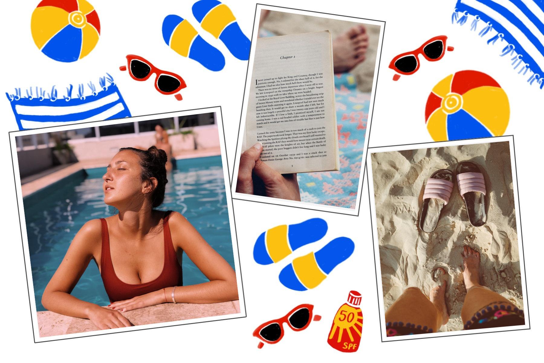 illustration vacances a la mer tongs bouee serviette de plage et lunettes de soleil