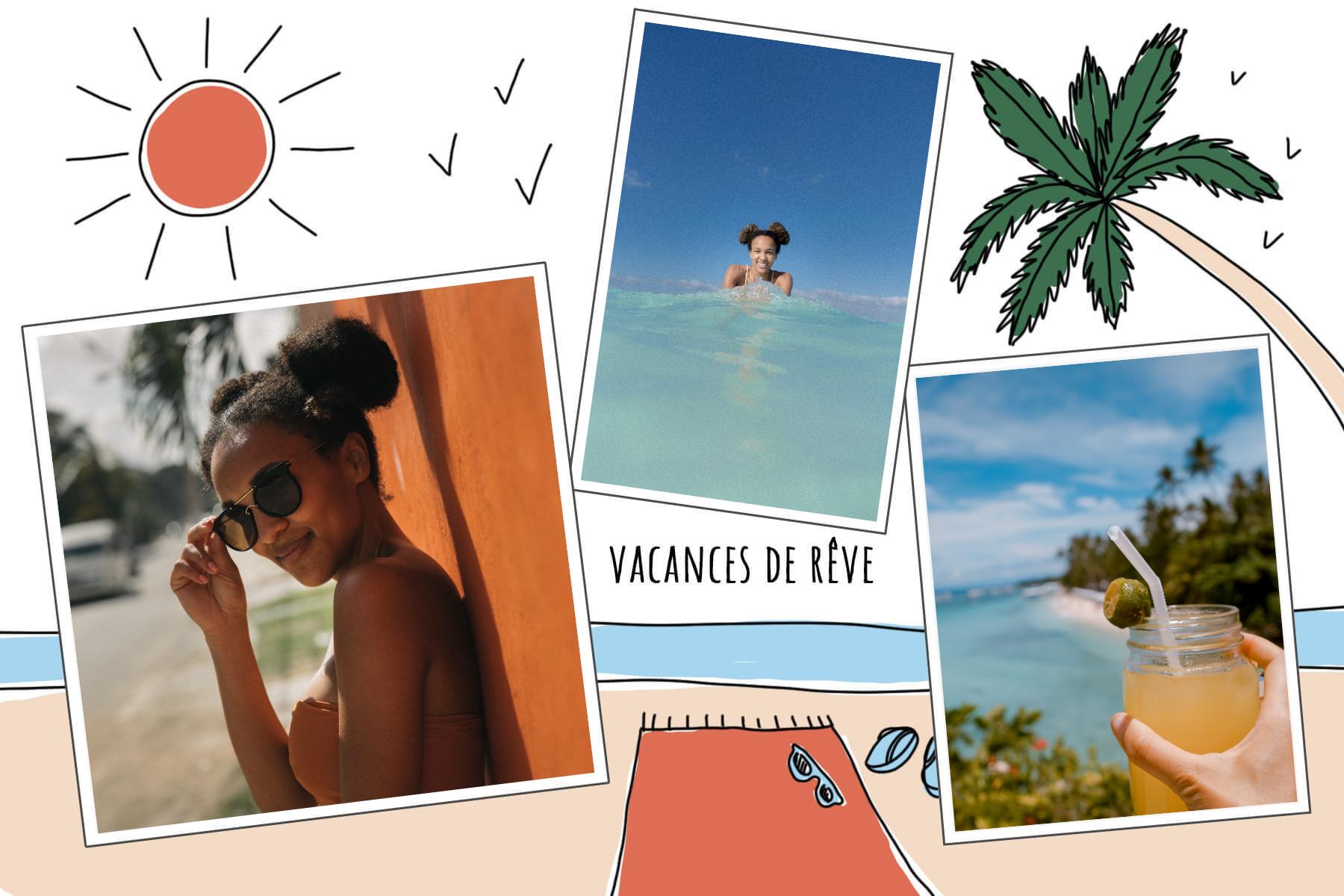 soleil palmier et serviette de plage