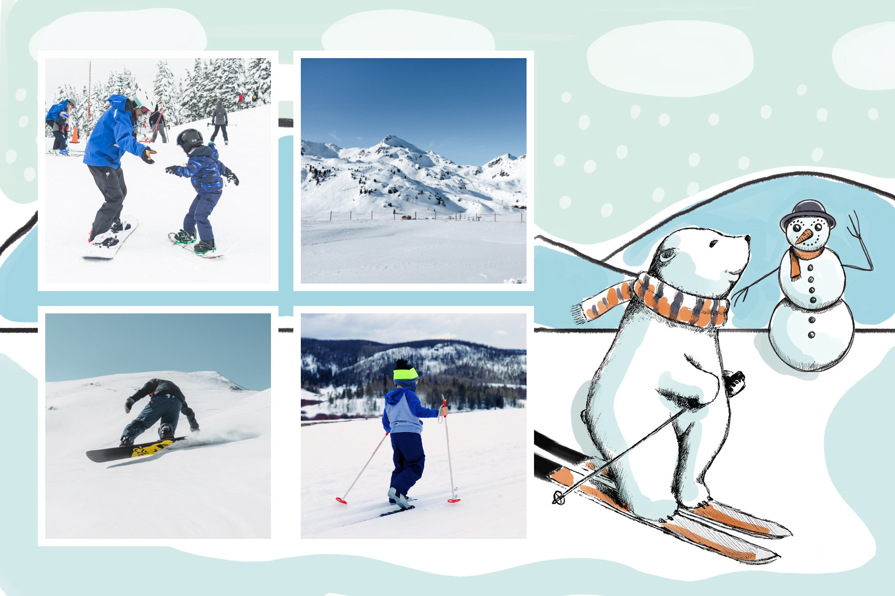 polar bear on skis and snowman
