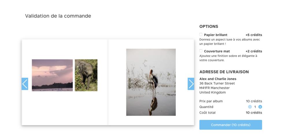 Validation de l'album photo et des dernieres options de personnalisation