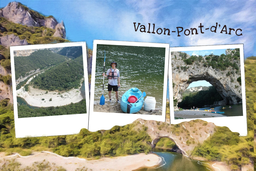 vallon pont d'arc postcard with three pictures