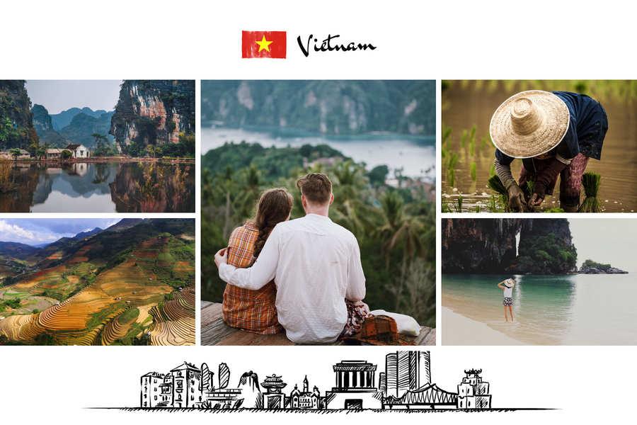 carte postale drapeau vietnam