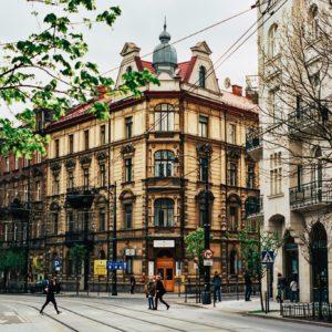 Vue sur un batiment de la ville de Krakow