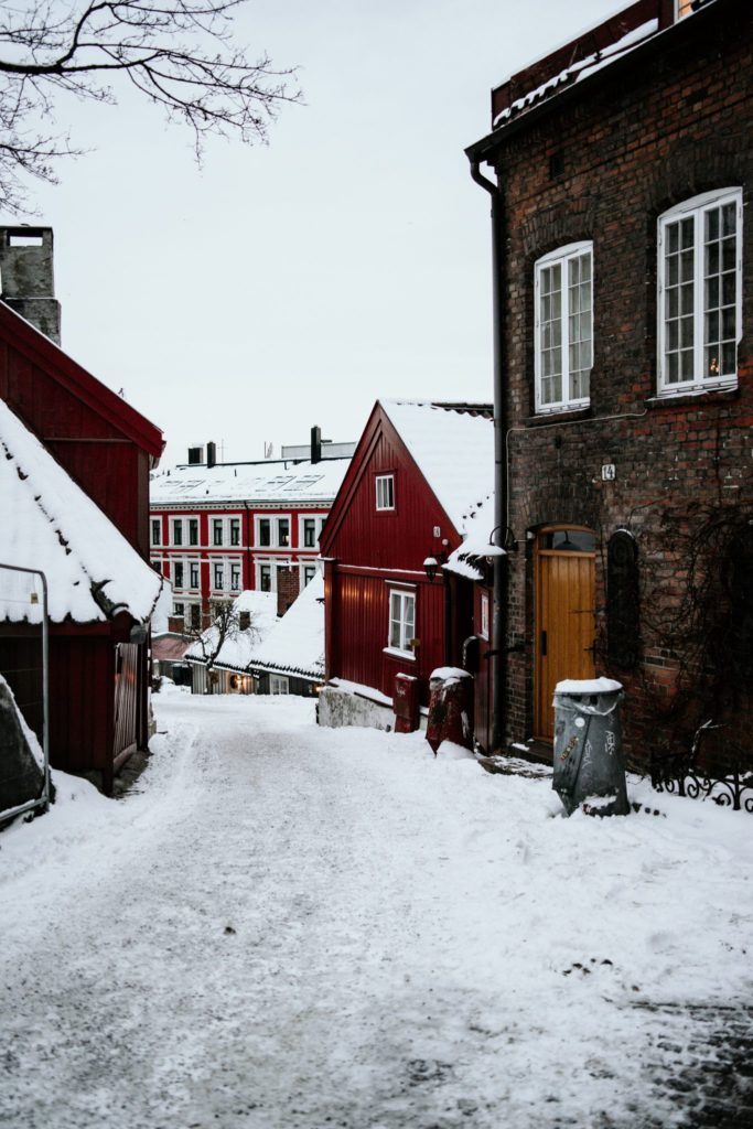 Rue enneigée Oslo Norvège